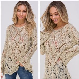 Tops - Host pick! 🎉Sparkly gold crochet knit sweaters.